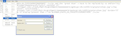 use Notepad to replace special HTML tags with special code to display them on the web