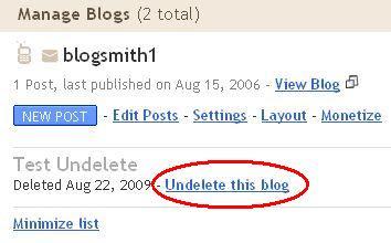 Blogger undelete post function