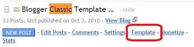 Screenshot old classic template tabs