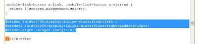 CSS edited to define second blog header