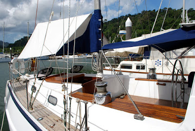 Yacht stern with awnings