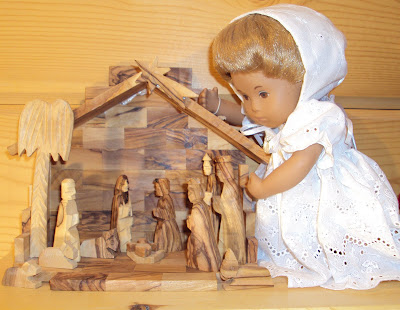 This olive wood nativity scene was made in Bethlehem.