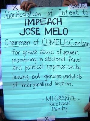 Migrante: Impeach Melo