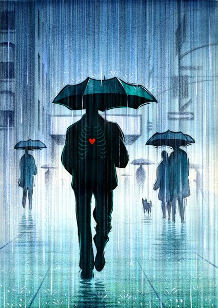 Картинки человек под зонтом