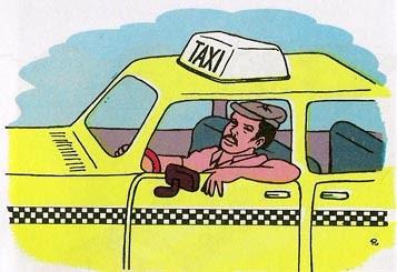 Esto es una mujer con su hijo que se montan en un taxi.