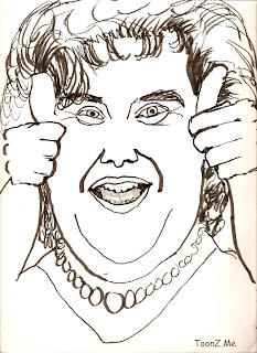 Susan Boyle, Great Singer, a creation of Simon Cowell Cartoon caricature