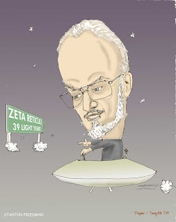 Stanton Friedman cartoon - Dr. Friedman pilots his flying saucer, next stop, Zeta Reticuli