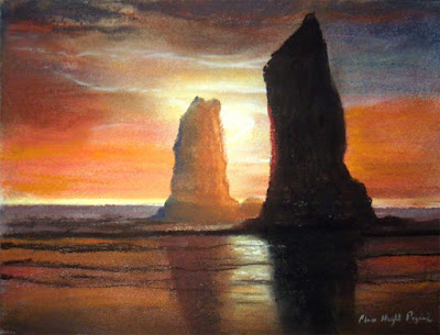 Oregon Pastel Painting, The Needles at Cannon Beach sunset ocean