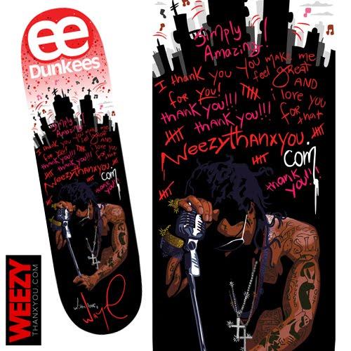 Foto do Skate Dunkees personalizado pelo Lil Wayne