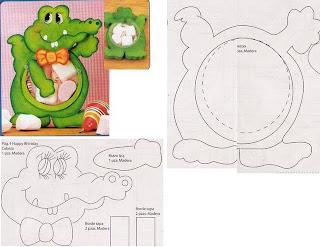 jacare+2 730184 Canguru, dinossauro, esquilo, formiga, jacaré, rena, alce, tudo em feltro para crianças