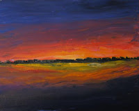 brilliantly colored sunset painting done with a knife in impasto style