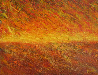 acrylic abstract painting of a sunset by Atul Pande