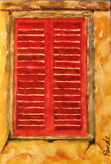 contemporary watercolor painting of a red shuttered window by atul pande