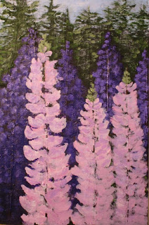 contemporary acrylic painting of wild lupin flowers by atul pande