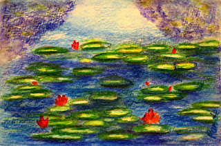 water lily painting in watercolor pencil by atul pande
