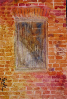 original watercolor painting of a window by atul pande