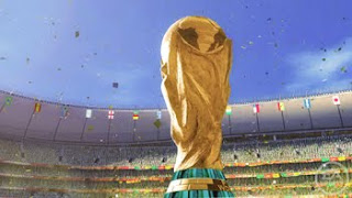world cup trophy in south african stadium