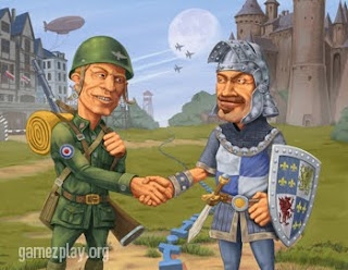 soldier and knight shaking hands