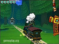 The Legend of Zelda Spirit Tracks train on tracks in forest