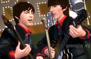 The beatles on stage in the video game