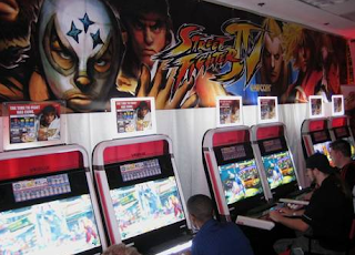 Row of Street Fighter IV arcade cabinets