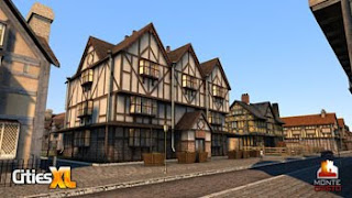 old england tudor building with oak beams