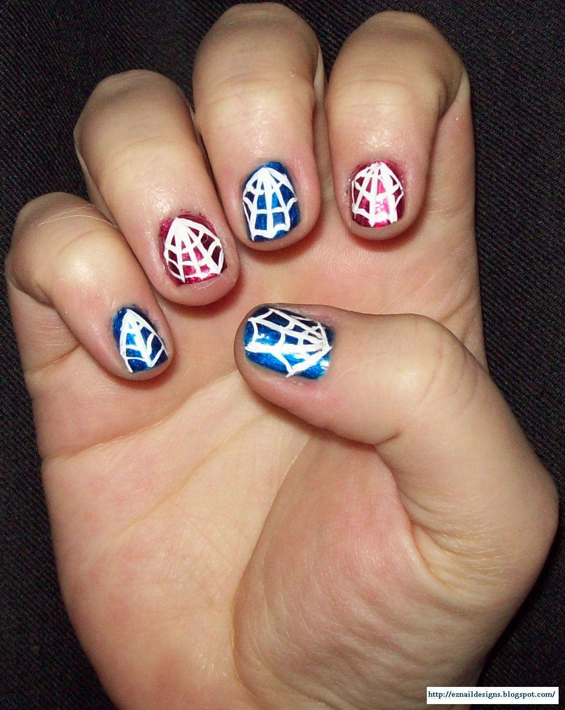 Simple Spider Web Nails Design