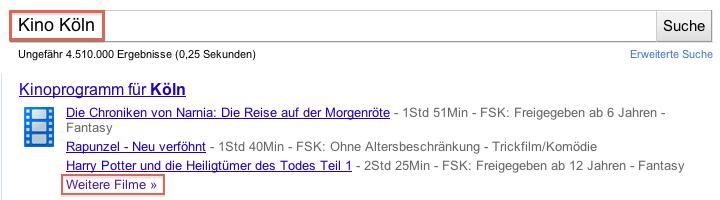 Beispielergebnis Google Suche nach Kino Koeln