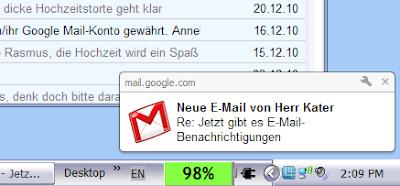 Beispiel Google Mail Desktop-Benachrichtigung