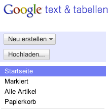 Google Text und Tabellen linke Navigationsleiste
