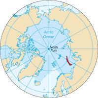mapa-mundi da região ártica com destaque para o arquipélago Novaya Zemlya, onde a bomba foi detonada