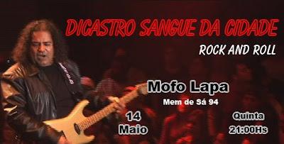 Cartaz do show de Dicastro e o Sangue da Cidade no Mofo da Lapa