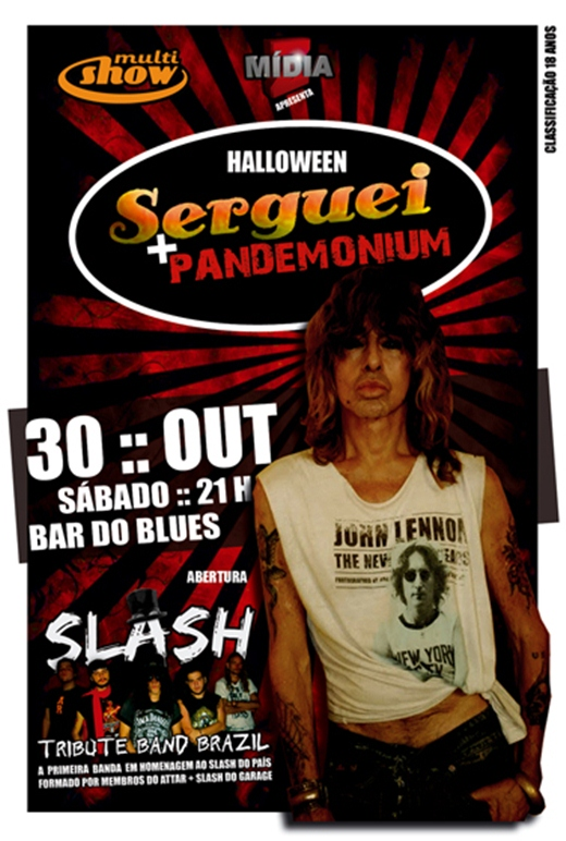 Cartaz do show do Serguei e Pandemonium no Bar do Blues em Niterói