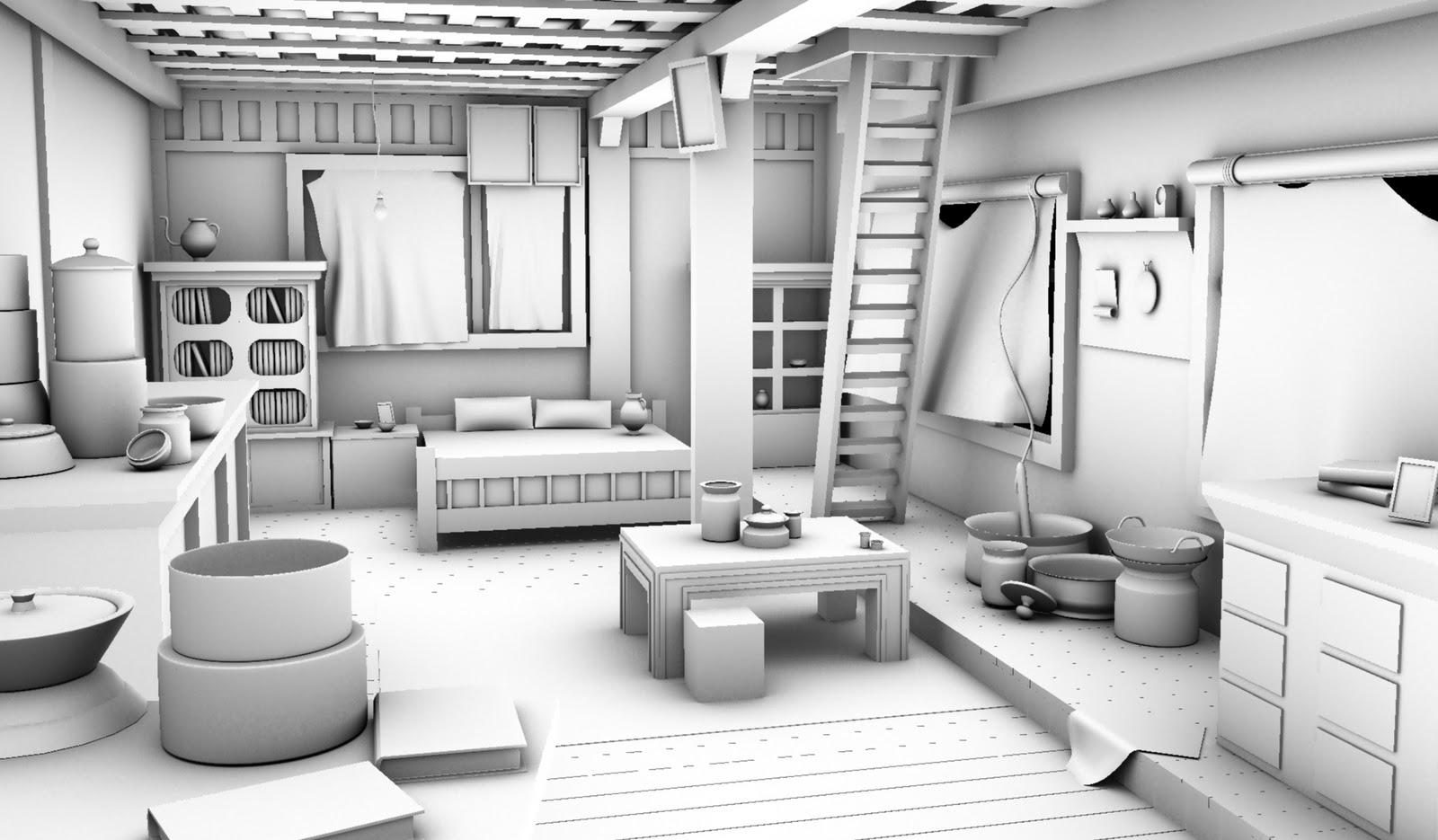 uncharted 2 hut interior high resolution modelling ambient occlusion