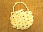 Bolsa em algodão cru detalhes coloridos