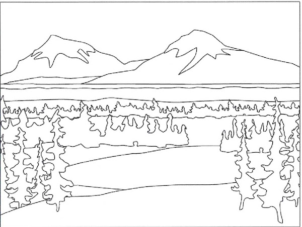 Mountain Landscape Coloring Pages