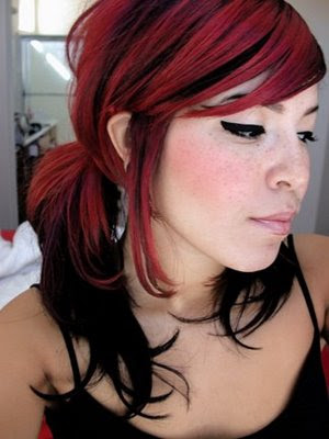 short hair red and black. short black hair red highlights hair black or dark and put some streaks of