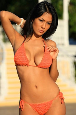 picture of an asian bikini model wearing a crocheted bikini