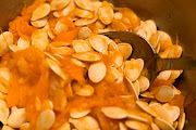 4 cups pumpkin seeds 1 tsp. salt 1/2 tsp ground cinnamon