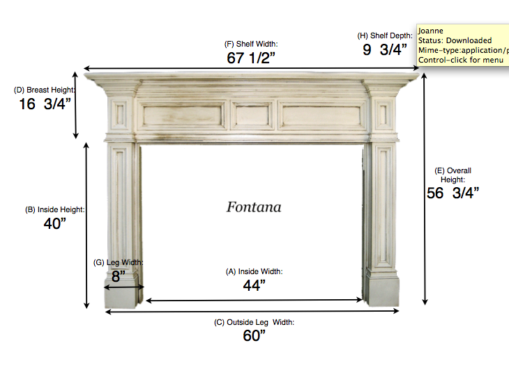 for this fireplace we used the fontana mantel with these dimensions