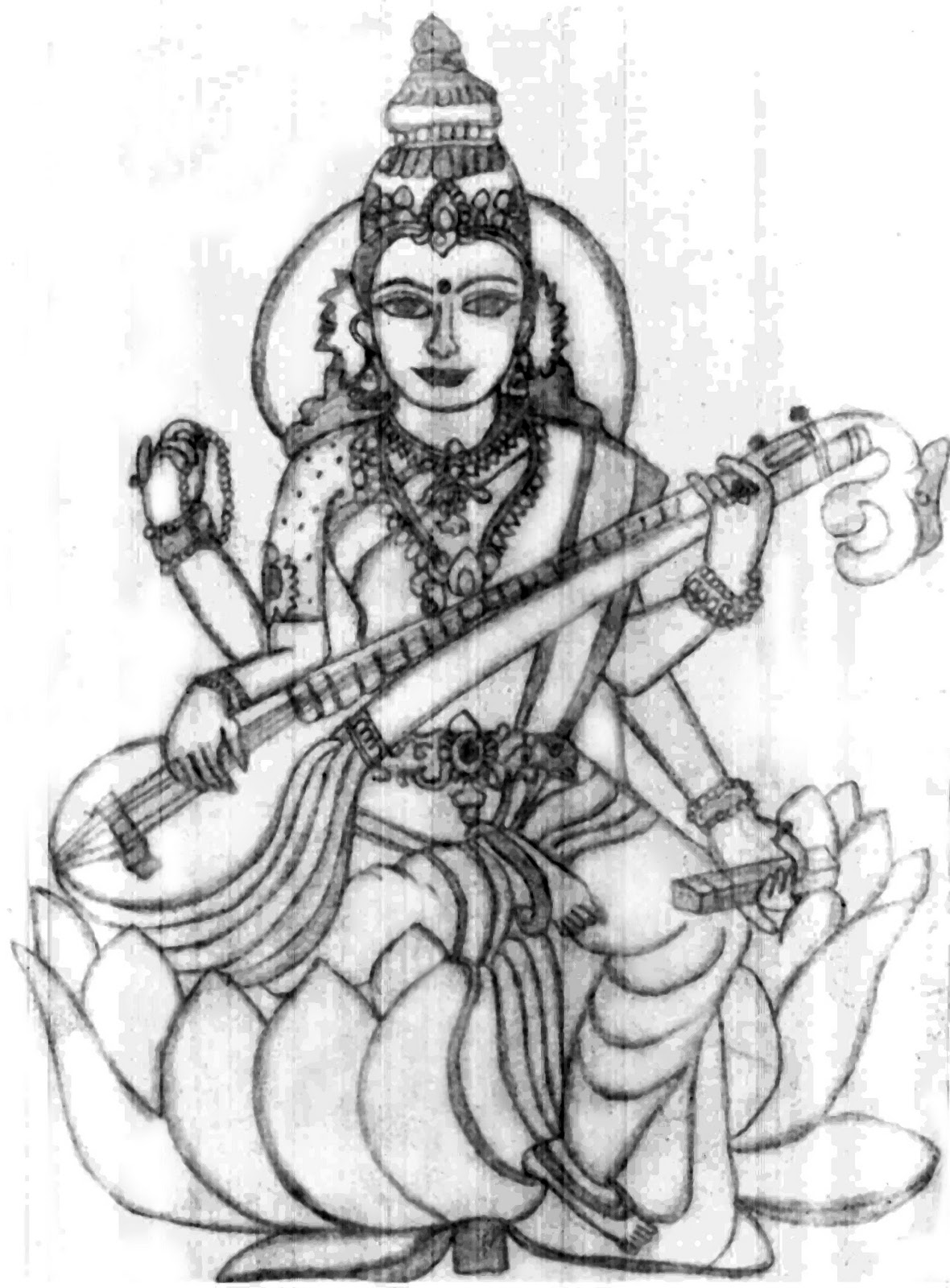 goddess saraswati coloring pages - free godess lakshmi coloring pages