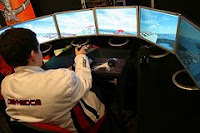 The six-monitor flight simulator