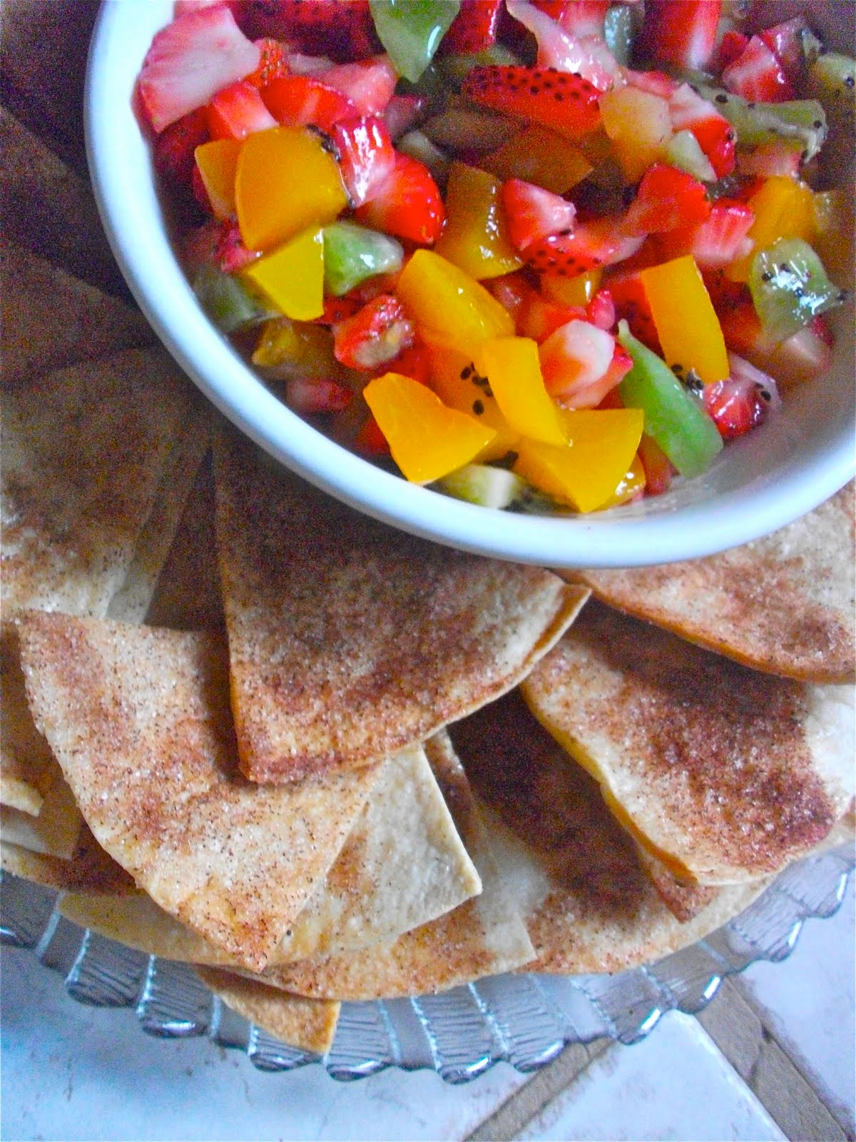 Fruit Salsa Recipe Homemade Cinnamon Tortilla Chips   Divas Can Cook