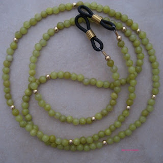 jade beaded eyeglass chain holder reading glasses=