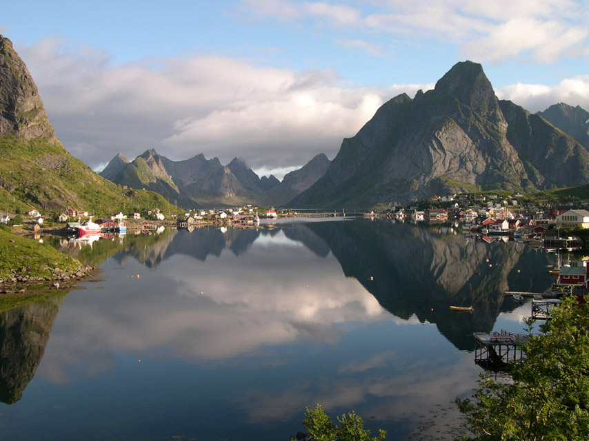 mount, Mountains, Lake, sunset, Noruega map