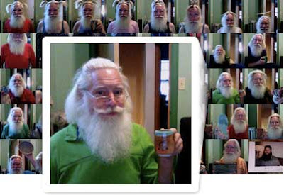 Panel of photos of a Santa-like man