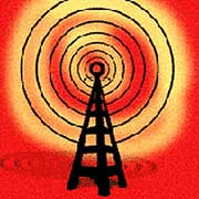 Radio tower on a red background, looking  menacing