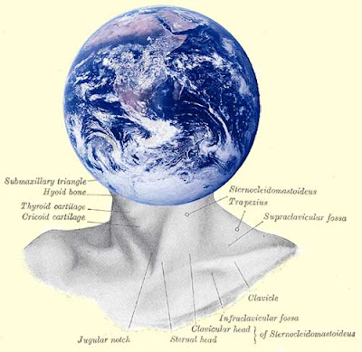 Illustration of a human neck with labels for the various muscles, but with an Earth globe replacing the human head