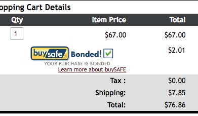 Screen snapshot of the Apatrim shopping cart, showing the BuySafe Bonded logo and a box with a green check mark, accompanying a charge of $2.01