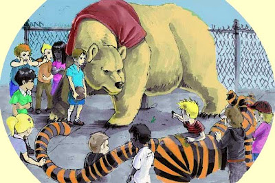 Illustration of Winnie the Pooh as a giant actual bear facing off with Hobbes, an actual tiger, as Christopher Robin, Calvin and a schoolyard full of children look on